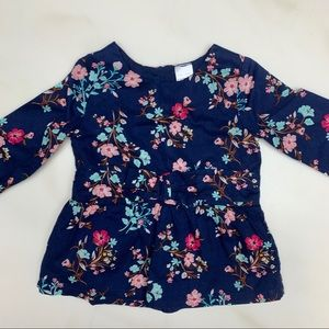 Carter's | Girls Floral Shirt with Bow Tie Waist